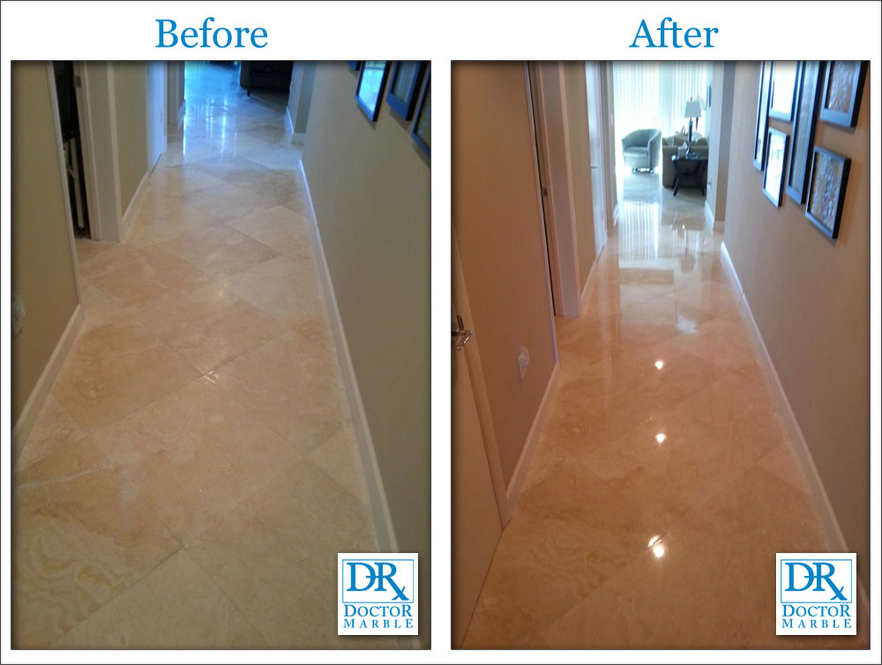Polishing & Grout cleaning-After & Before